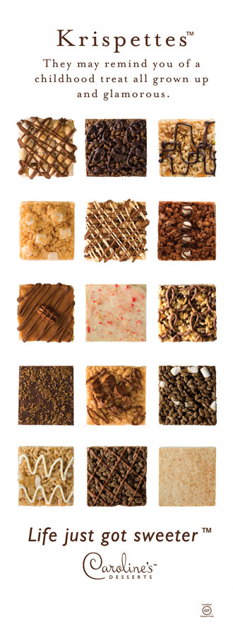 Krispettes may remind you of a childhood treat all grown up and glamorous. Certified Gluten Free. All Natural and Organic. Over twenty flavors to choose from.